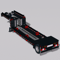Trailer for helicopter ground transport. Legs and decoupling activated by reversing.