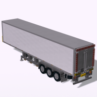 Box trailer with legs and decoupler activated by reversing
